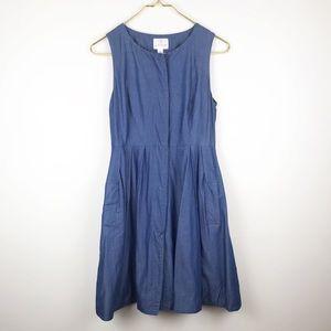 Julie Brown NYC Denim Micro Pleat Detailed Dress